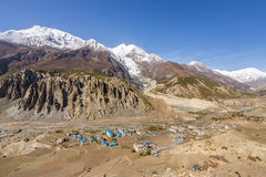 View of Manang valley and Annapurna mountains range royalty free stock image
