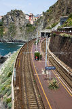 View of Manarola station, Cinque Terre, from the top of the moun Stock Photos