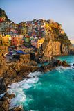 View of Manarola at sunset. View at sunset of Manarola in National Park of Cinque Terre, Ligury, Italy Royalty Free Stock Photos