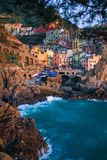View of Manarola at sunset. View at sunset of Manarola in National Park of Cinque Terre, Ligury, Italy Stock Photos
