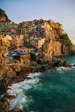 View of Manarola at sunset. View at sunset of Manarola in National Park of Cinque Terre, Ligury, Italy Royalty Free Stock Photo