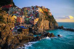 View of Manarola at sunset. View at sunset of Manarola in National Park of Cinque Terre, Ligury, Italy Royalty Free Stock Photography