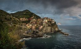 View of Manarola town, Cinque Terra, Italy royalty free stock photo