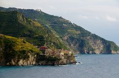 View of Manarola from Vernazza royalty free stock image