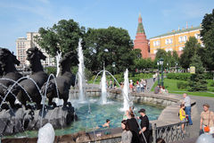 View of Manezhnaya Square in Moscow. stock photos