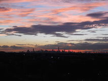 View of Manhattan from Arthur Ashe Stadium. Royalty Free Stock Images