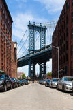View of Manhattan bridge from Brooklyn - New York - USA Stock Photos