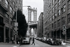 View of Manhattan bridge from Brooklyn in New York. Royalty Free Stock Photography