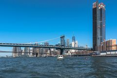 Manhattan Bridge and Brooklyn Bridge, Manhattan, NYC. View of Manhattan Bridge and Brooklyn Bridge over the East River, Manhattan, NYC royalty free stock photo