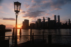 View of Manhattan from the Brooklyn Bridge at sunset, New York City, New York Royalty Free Stock Images