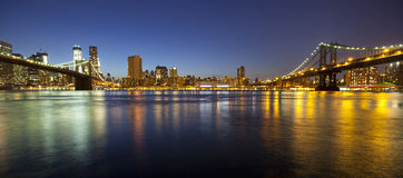 VIew of Manhattan and Brooklyn bridges Stock Photo