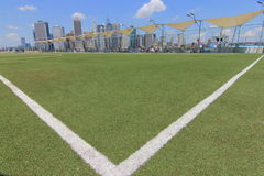 View of Manhattan from Brooklyn Heights Over a Soccer Field Royalty Free Stock Photos