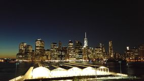 View of Manhattan from Brooklyn Heights Promenade Stock Photo