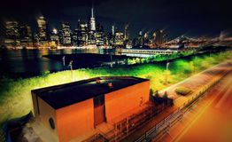View of Manhattan from Brooklyn Heights Promenade Stock Photos