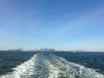 View of Manhattan, Brooklyn, and Jersey City from Staten Island Ferry. Royalty Free Stock Photography