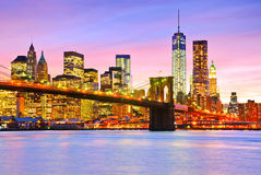 View of Manhattan at dusk Royalty Free Stock Images