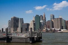 View of Manhattan from ferry harbor Royalty Free Stock Image