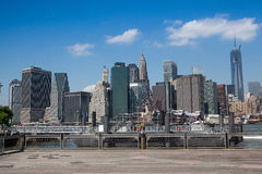 View of Manhattan from ferry harbor in Brooklyn. New York,USA - July 29,2013: View of Manhattan from ferry harbor in Brooklyn. New York Harbor has important Stock Photography