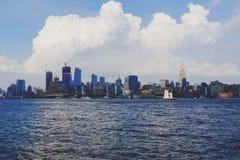 View of Manhattan from Hoboken riverside waterfront. HOBOKEN, NJ - September 16th, 2017: View of Manhattan from Hoboken riverside waterfront Royalty Free Stock Photos