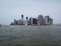 View on Manhattan from Hudson river. (with Twin Towers: construction in progress Royalty Free Stock Photo