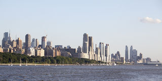 View at Manhattan from the Hudson river in the afternoon sun - New York City Royalty Free Stock Image