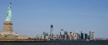 View of Manhattan from New Jersey side of Hudson River. Lady Liberty watches over Lower Manhattan across the Hudson River stock photo