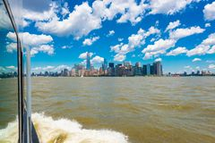 View on Manhattan NYC from Sailing Boat Stock Photography