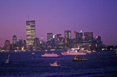 View of Manhattan at night from Deck of Aircraft Carrier Kennedy, New York City, NY Royalty Free Stock Photos