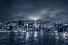 View of Manhattan at night Stock Image