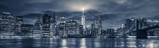 View of Manhattan at night Stock Photography