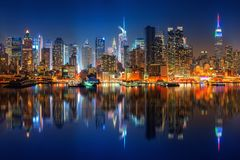 View on Manhattan at night stock photography