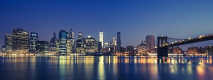 View of Manhattan by night Stock Photography