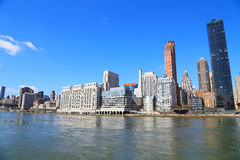 View on Manhattan from Roosevelt Island in spring. Royalty Free Stock Image