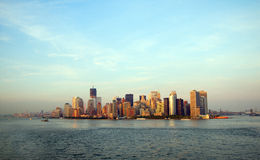 View at Manhattan from sea Stock Photos