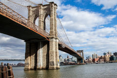 View from Manhattan side near Brooklyn Bridge Stock Images