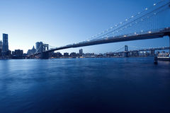 view of Manhattan skyline and Brooklyn Bridge Royalty Free Stock Photography