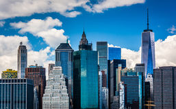 View of the Manhattan skyline from Brooklyn Heights, New York. Royalty Free Stock Image