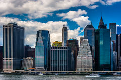 View of the Manhattan skyline from Brooklyn Heights, New York. Stock Photo