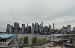 View of the Manhattan skyline from Brooklyn Heights Royalty Free Stock Photo