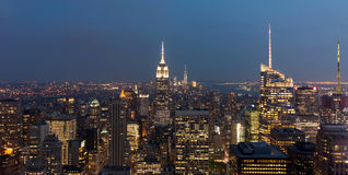 View of the Manhattan skyline and buildings at night Stock Photography