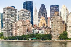 View of Manhattan skyline viewed from East River stock photography