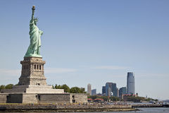 View of Manhattan and the Statue of Liberty. View of southern Manhattan and the Statue of Liberty Stock Photography