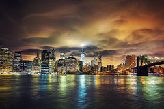View of Manhattan at sunset Royalty Free Stock Images