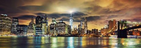 View of Manhattan at sunset Stock Photos