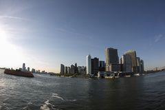 View of Manhatten from Staten Island Ferry Royalty Free Stock Image