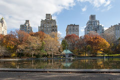 View of Manhttan buildings from Central Park, New York. Photo shot from inside Central Park in New York Stock Photos