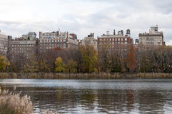 View of Manhttan buildings from Central Park, New York. Photo shot from inside Central Park in New York Stock Image