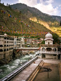View of the Manikaran. Manikaran with thermal springs is a pilgrimage centre for Hindus and Sikhs. April, 24th, 2016 - Manikaran, Parvati valley, Himachal Royalty Free Stock Photo