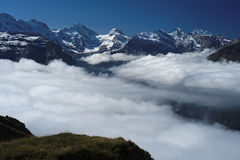 View from Mannlichen at the Bernese Alps (Berner Oberland, Switzerland). Royalty Free Stock Photos