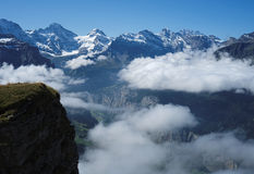View from Mannlichen at the Bernese Alps (Berner Oberland, Switzerland). The Mannlichen is a mountain (2,343 metre) in the Swiss Alps located within the Canton Stock Photography